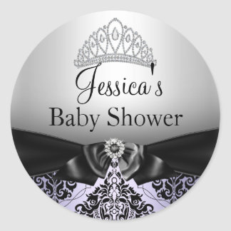 Diamond Tiara Damask Purple Baby Shower Sticker