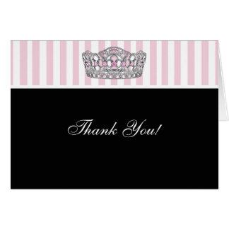 Diamond Tiara Pink Black Princess Thank You Cards