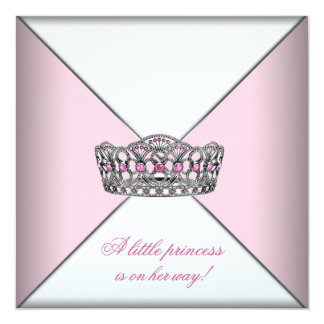 Diamond Tiara Pink Princess Baby Shower Card