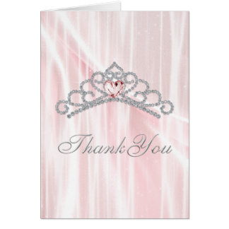 Diamond Tiara Pink Princess Thank You Card