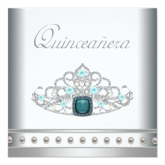"Diamond Tiara Teal Blue Quinceanera 5.25"" Square Invitation Card"