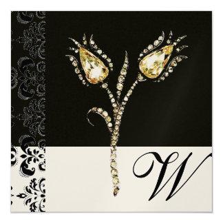 "DIAMOND TULIPS , Black and Gold  Damask Monogram 5.25"" Square Invitation Card"