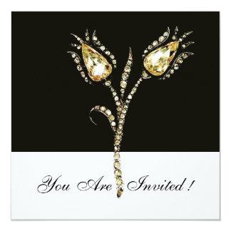 """DIAMOND TULIPS , Black and White 5.25"""" Square Invitation Card"""
