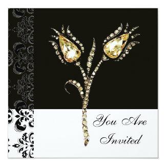 "DIAMOND TULIPS , Black and White Damask 5.25"" Square Invitation Card"