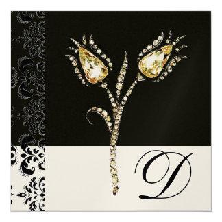 "DIAMOND TULIPS , Black and White Damask Monogram 5.25"" Square Invitation Card"