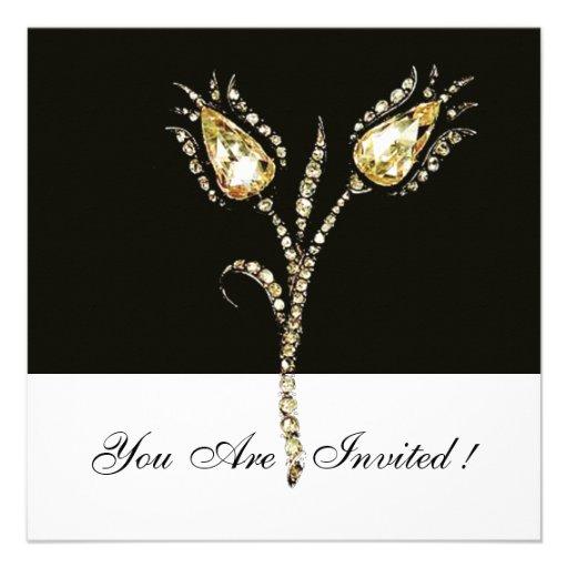 DIAMOND TULIPS , Black and White Personalized Invite