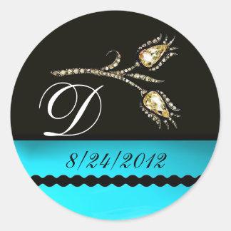 DIAMOND TULIPS BLACK WHITE AQUA BLUE TEAL MONOGRAM ROUND STICKER