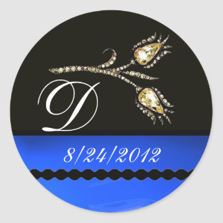 DIAMOND TULIPS BLACK WHITE BLUE MONOGRAM ROUND STICKER
