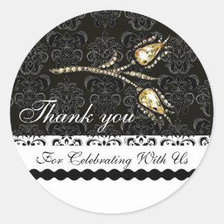 DIAMOND TULIPS BLACK WHITE DAMASK,Thank you Favor Round Sticker