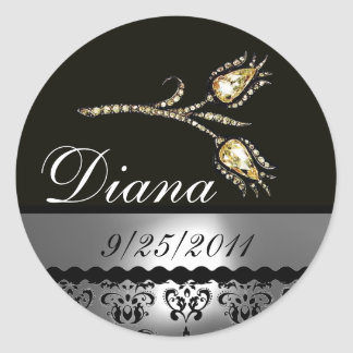 DIAMOND TULIPS BLACK WHITE GREY DAMASK,Save Date Round Sticker