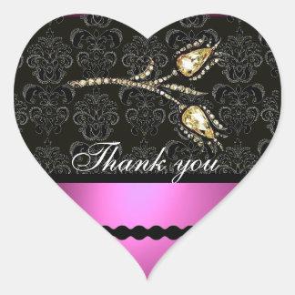 DIAMOND TULIPS BLACK WHITE PINK DAMASK,Thank you Heart Sticker