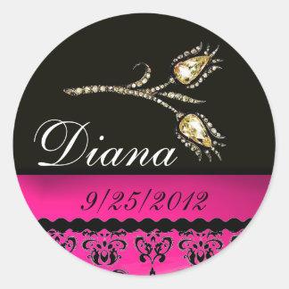 DIAMOND TULIPS BLACK WHITE PINK FUCHSIA DAMASK, ROUND STICKER