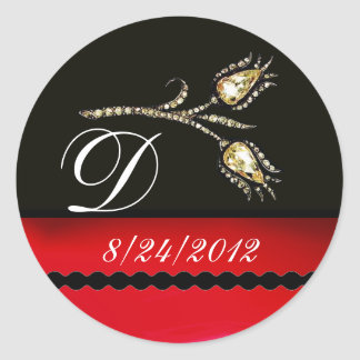 DIAMOND TULIPS BLACK WHITE RED MONOGRAM ROUND STICKER