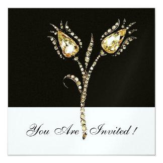 "DIAMOND TULIPS ,Ice Metallic 5.25"" Square Invitation Card"