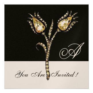 DIAMOND TULIPS MONOGRAM ,Champagne Metallic Personalized Announcement