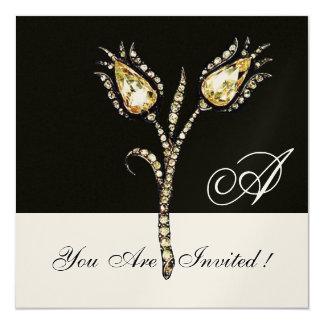 "DIAMOND TULIPS MONOGRAM ,Champagne Metallic 5.25"" Square Invitation Card"