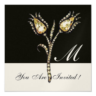 "DIAMOND TULIPS MONOGRAM ,Gold Metallic 5.25"" Square Invitation Card"