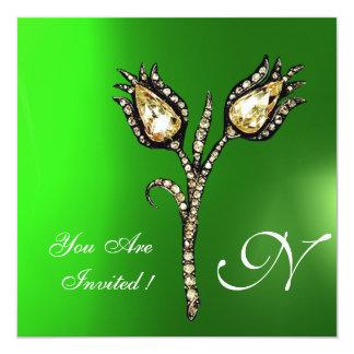 DIAMOND TULIPS MONOGRAM ,Green Emerald Card