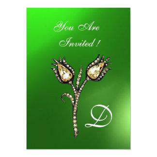 "DIAMOND TULIPS MONOGRAM ,Green Emerald 5.5"" X 7.5"" Invitation Card"