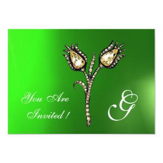 "DIAMOND TULIPS MONOGRAM ,Green Emerald 5"" X 7"" Invitation Card"