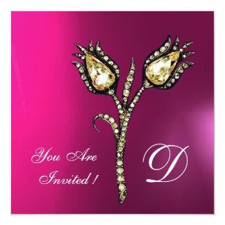 "DIAMOND TULIPS MONOGRAM ,Pink Fuchsia Purple 5.25"" Square Invitation Card"