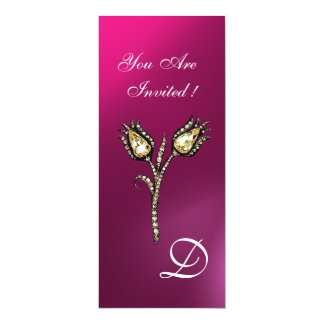 """DIAMOND TULIPS MONOGRAM ,Pink Purple Amethyst 4"""" X 9.25"""" Invitation Card"""