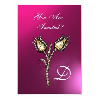 """DIAMOND TULIPS MONOGRAM ,Pink Purple Amethyst 5"""" X 7"""" Invitation Card"""