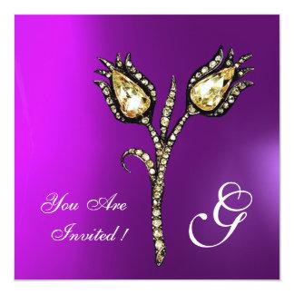 "DIAMOND TULIPS MONOGRAM , Purple Violet 5.25"" Square Invitation Card"