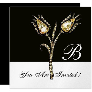 "DIAMOND TULIPS MONOGRAM ,Silver Metallic 5.25"" Square Invitation Card"
