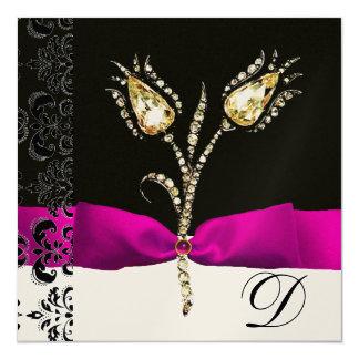"DIAMOND TULIPS ,Pink Black White Damask Monogram 5.25"" Square Invitation Card"