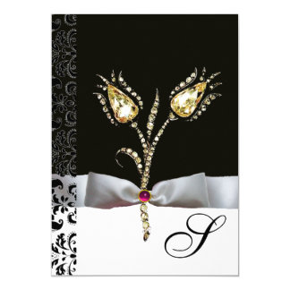 "DIAMOND TULIPS ,Pink Black White Damask Monogram 5"" X 7"" Invitation Card"