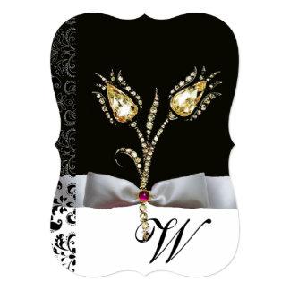 "DIAMOND TULIPS ,Pink Black White Damask Monogram 5"" X 7"" Invitation Card"