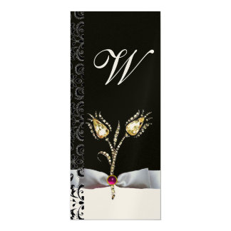 "DIAMOND TULIPS ,Pink Black White Damask Monogram 4"" X 9.25"" Invitation Card"