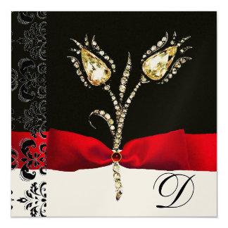 "DIAMOND TULIPS , Red Black White Damask Monogram 5.25"" Square Invitation Card"
