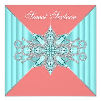 Diamond Turquoise Blue Coral Sweet 16 Birthday Card