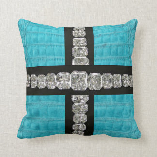 Diamond & Turquoise Gator Skin Throw Pillow