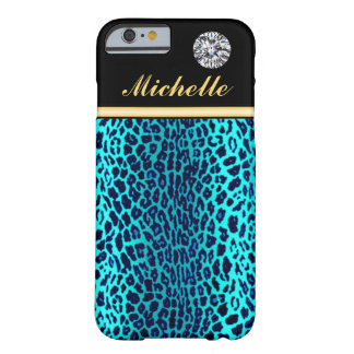 Diamond Turquoise Leopard Animal Print Custom Barely There iPhone 6 Case