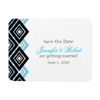 Diamond Valance Black Aqua Wedding Save the Date Rectangular Photo Magnet