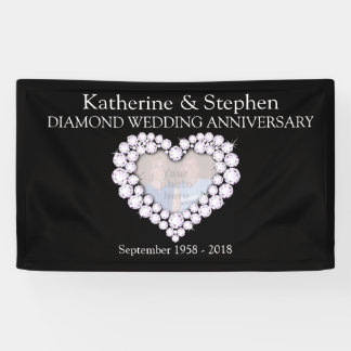 Diamond Wedding anniversary black banner