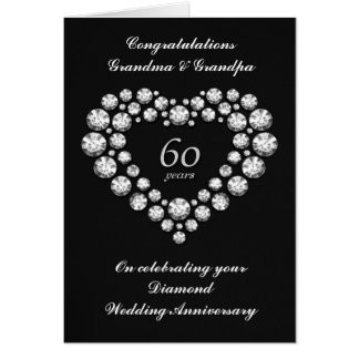 Diamond Wedding Anniversary Card - 60 Years
