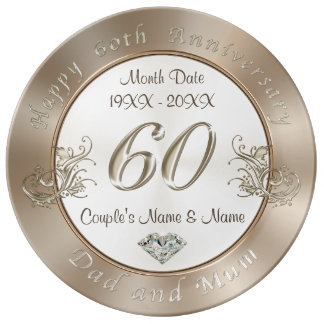Diamond Wedding Anniversary Gifts for Dad and Mum Plate