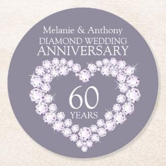 Diamond wedding anniversary heart coasters