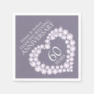 Diamond Wedding Anniversary heart name napkins Disposable Napkins