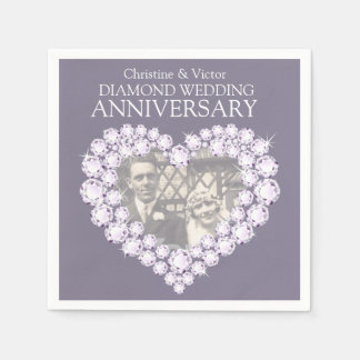 Diamond Wedding Anniversary heart photo napkins