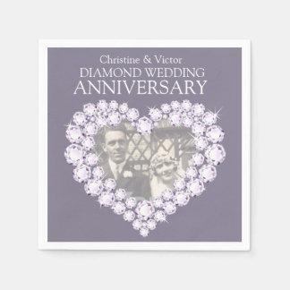 Diamond Wedding Anniversary heart photo napkins Disposable Napkins