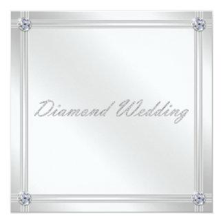 Diamond Wedding Anniversary Invitation in Silver