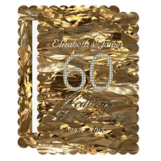 Diamond Wedding Anniversary Party Gold Elegant Card
