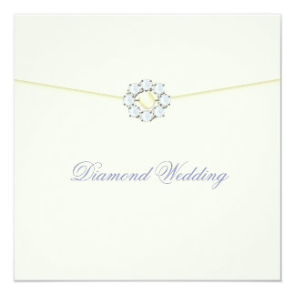 Diamond Wedding Anniversary with Diamond Broach 5.25x5.25 Square Paper Invitation Card