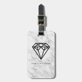 Diamond with Marble Luggage Tag