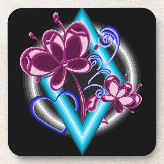 Diamond with purple flowers coaster